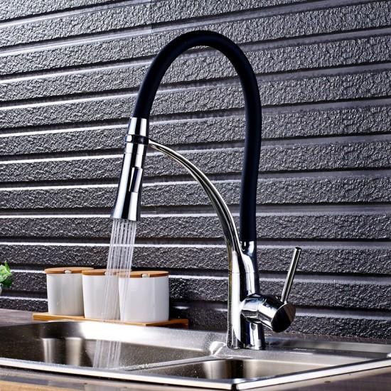 Keukenkraan chroom zwart 2 standen