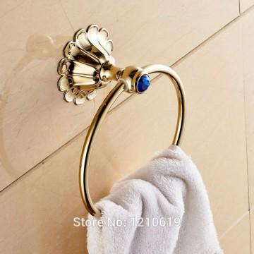 Luxe gouden handdoek ring blauw kristal
