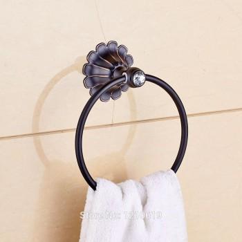 Crystal badhanddoek ring houder olie-gewreven brons