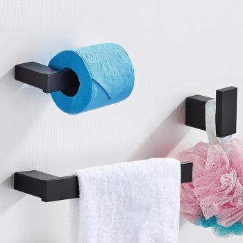 Badkamer set zwart haak handdoekenrek wc-rol houder