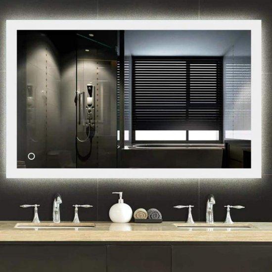 Badkamer Spiegel met Touch schakelaar, LED verlichting en Spiegelverwarming