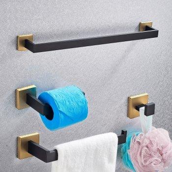 Badkamer accessoires set zwart goud