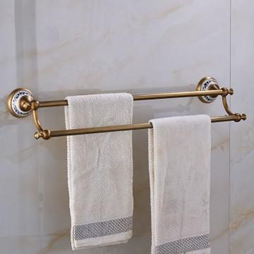 Massief messing handdoek bars blauw en wit porselein