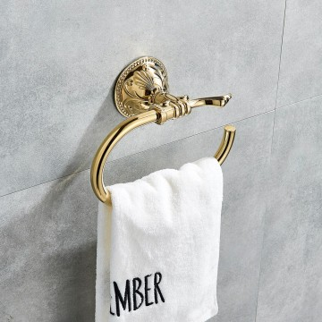 Luxe golden gepolijst badkamer handdoek ring