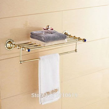 Gouden stijl handdoek Bar blauwe kristal