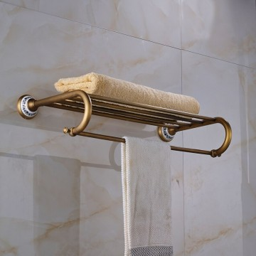 Antiek messing handdoek rek