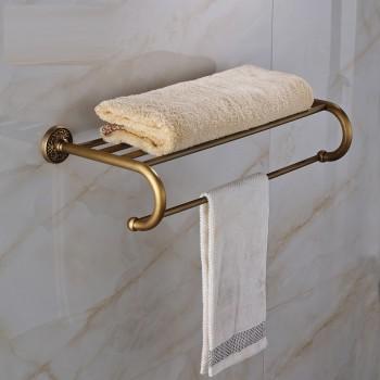 Antiek messing badkamer handdoekenrek