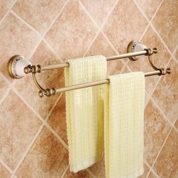 Antiek massief messing handdoekenrek dubbele bars