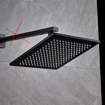 Regendouche kop vierkant zwart 30cm