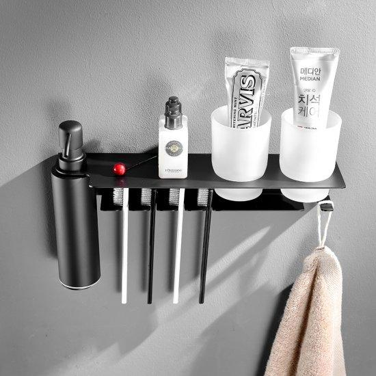 Zeep dispenser 500ML mat zwart RVS beker tandenborstel