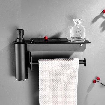 Zeep dispenser met handdoek houder mat zwart RVS