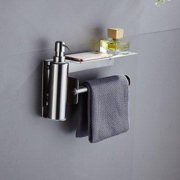 Zeep dispenser met handdoek houder geborsteld RVS