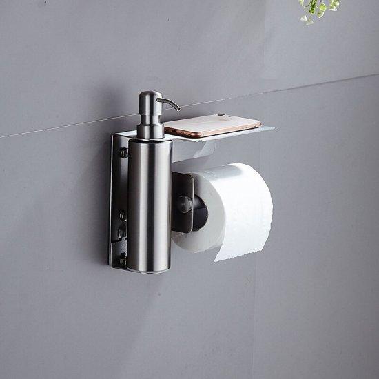 Zeep dispenser met wc rol houder geborsteld RVS