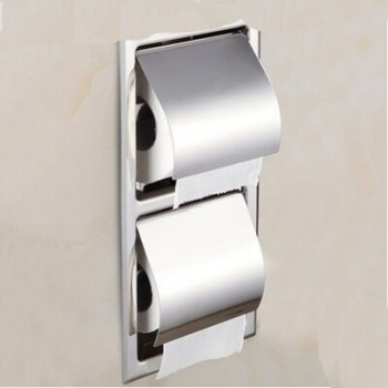 Wandmontage RVS gepolijst chroom toiletrol houder dubbel