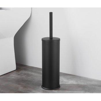 Luxe Mat Zwarte Vrijstaande Toiletborstel houder Vloerstandaard Rond