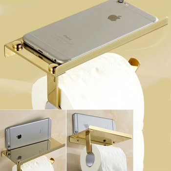 Gouden toiletpapier telefoon houder RVS