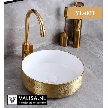 Wit Gouden Ronde Design Keramische Blad Wastafel Waskom