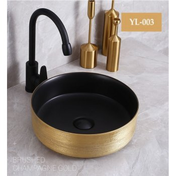 Rond Design Zwart Goud Keramische Blad Wastafel Waskom