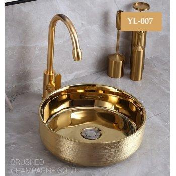 Rond Design gouden Keramische Blad Wastafel Waskom