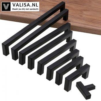 Moderne zwarte kast handvat vierkante meubelbeslag RVS keuken deurknoppen kast kledingkast lade trekt
