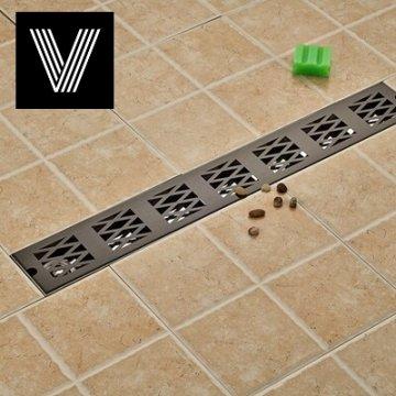 Afvoerputje Zwart 90*10cm 304 Roestvrij Staal Badkamer