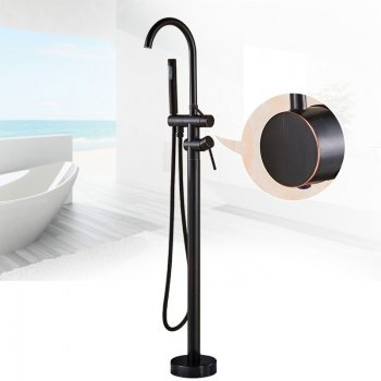 Vrijstaande Douche Badkamer Vloerkraan Zwart Brons Met Hand douche