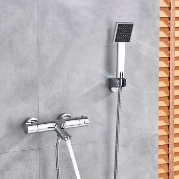 Moderne Thermostaat Douche Bad mengkraan Chroom Met Hand Douche