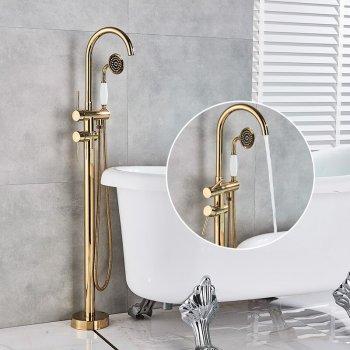 Gouden Bad Douche Set Vrijstaand Vloer Mengkraan Met Handdouche