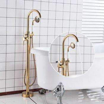 Luxe Gouden Bad Set Vrijstaand Mengkraan Met Handdouche