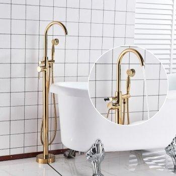 Luxe Gouden Bad Vloer Set Vrijstaand Mengkraan Met Handdouche