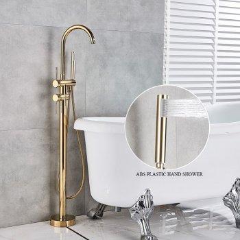 Luxe Gouden Bad Douche Set Vrijstaand Vloer Bad kraan Met Handdouche