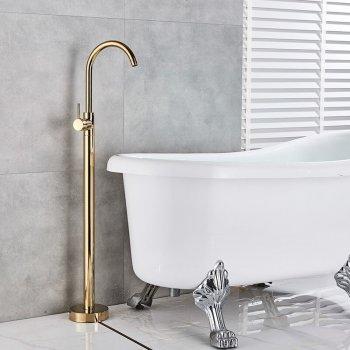 Luxe Gouden Bad Douche Set Vrijstaand Badkraan Met Handdouche