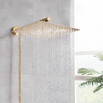 Gouden regendouche met wand arm en 150cm doucheslang
