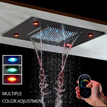 Luxe inbouw RGB LED Regen douche met Waterval Zwart