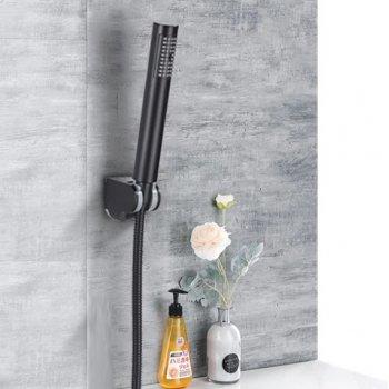 Zwarte handdouche set met houder en slang opbouw wandmontage
