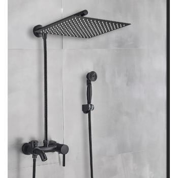 Zwarte douche set bad douche mengkraan met 30cm brede regendouche