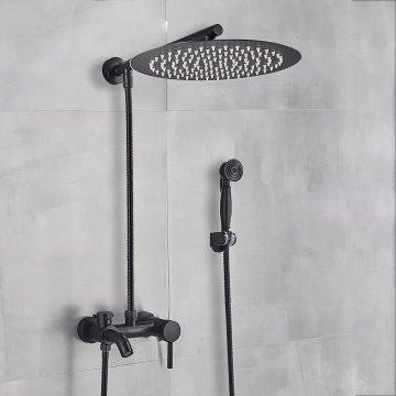 Zwarte douche set bad douche mengkraan met 30cm brede ronde regendouche