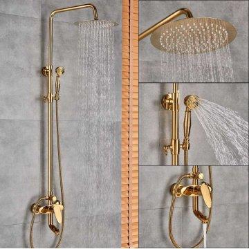 Gepolijst gouden regen douche 20cm set bad douchekraan