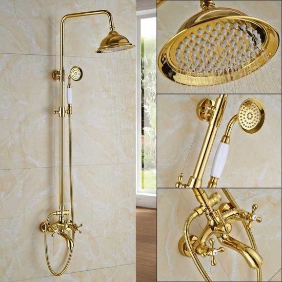 Gepolijst gouden regendouche 20cm douchekraan bad set
