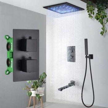 Mat Zwart Thermostaatkraan Douchekraan Plafond of Wand LED Regendouche