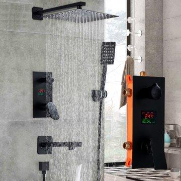 Digitale Inbouw Regen Douche 30CM Kraan set 3-Functies Matte Zwart