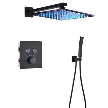 Luxe zwarte thermostatische LED regendouche wand kraan bad douche set