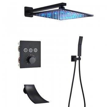 Luxe 3weg zwarte thermostatische LED regendouche wand kraan bad douche set