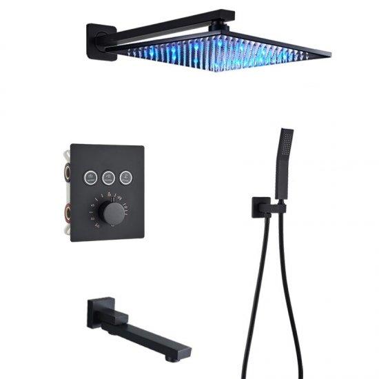 Luxe 3weg thermostatische LED regendouche wand kraan bad douche set zwart
