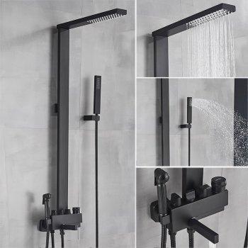 Spa kolom regendouche met handdouche en bidet mat zwart