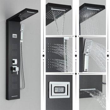 Regendouche paneel mengkraan met handdouche massage systeem en temperatuur display