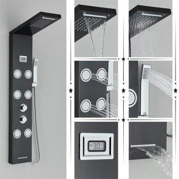 Regen douche paneel mengkraan met handdouche massage systeem en temperatuur display