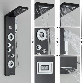 Regendouche paneel mengkraan met handdouche massage yets en temperatuur display