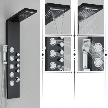 Regen douche paneel met handdouche massage systeem en temperatuur display mengkraan
