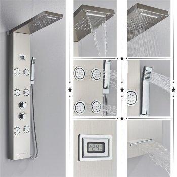 Regen douchepaneel mengkraan met handdouche massage systeem en temperatuur display